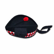 SCOTTISH GLENGARRY WOOL DICED HAT CAP/Glengarry Hat Wool Black Red White Diced