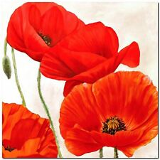 Quadro LUCA VILLA 'Poppies II'  Stampa su Tela Canvas