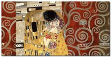 Quadro Klimt Patterns 'The Kiss (Pewter) ' Stampa su Tela Canvas
