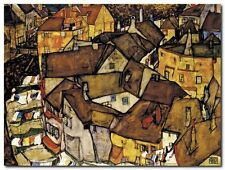 Quadro Egon Schiele 'Crescent of Houses' Stampa su Tela Canvas