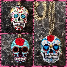 ROCKABILLY, KITSCH MEXICAN DAY OF THE DEAD, LARGE SUGAR SKULL, NECKLACE PENDANT