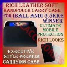 ACM-RICH LEATHER SOFT CARRY CASE for IBALL ANDI 3.5KKE WINNER MOBILE HANDPOUCH