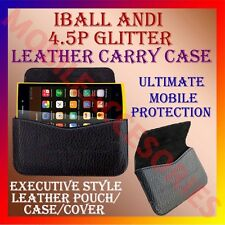 ACM-HORIZONTAL LEATHER CARRY CASE for IBALL ANDI 4.5P GLITTER MOBILE POUCH COVER