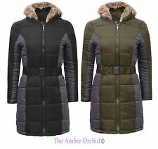 Brave Soul Womens Fur Hooded Belted Parka Jacket Quilted Padded Ladies Coat