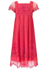 Monsoon Girls Dress Pink Red Savannah Party Prom Bridesmaid Wedding sequin long