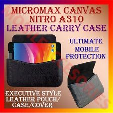 ACM-HORIZONTAL LEATHER CARRY CASE for MICROMAX CANVAS NITRO A310 POUCH COVER NEW
