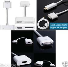 HDTV Dock Connector to HDMI Cable Converter AV Adapter for iPad 2 3 iPhone 4 4S
