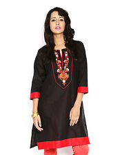 Urban Purple's Black 3/4 Sleeves Kurti With Embroidery for Women (UCEK013)