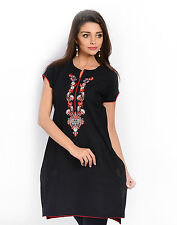 Urban Purple's Black Short Sleeves Kurti With Embroidery for Women (UCEK003)