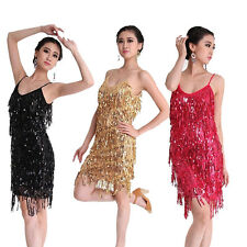 Latin Salsa Tango Ballroom Dance Dress Tassel Sequins Skirt Costume 6 Colors UK