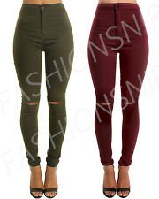 WOMENs High Waisted Skinny JEANS Jeggings Ripped Stretch Ladies Coloured Pants