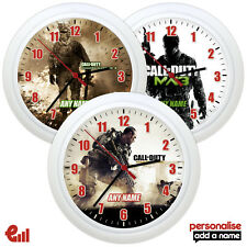 NEW CALL OF DUTY Personalised Wall Clock Gift Kids Bedroom Add Name COD Bedding