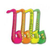 Fancy Dress Inflatable Saxophone Neon Jazz Blow Up Retro Blues Party Bag Filler