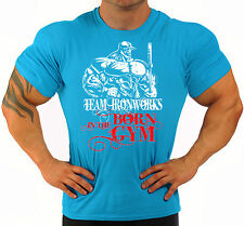 BORN IN THE GYM ROYAL BLUE BODYBUILDING T-SHIRT WORKOUT GYM CLOTHING J-117