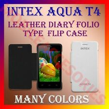 ACM-LEATHER DIARY FOLIO FLIP CASE for INTEX AQUA T4 MOBILE FRONT & BACK COVER