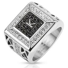 Unisex Ring Stainless Steel Initial K Black Clear Zirconia Jewelry from coolbody