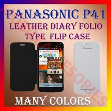 ACM-LEATHER DIARY FOLIO FLIP CASE for PANASONIC P41 MOBILE FRONT & BACK COVER