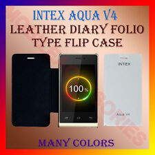 ACM-LEATHER DIARY FOLIO FLIP CASE for INTEX AQUA V4 MOBILE FRONT & BACK COVER