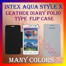 ACM-LEATHER DIARY FOLIO FLIP CASE of INTEX AQUA STYLE X MOBILE FRONT&BACK COVER