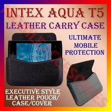 ACM-HORIZONTAL LEATHER CARRY CASE for INTEX AQUA T5 MOBILE POUCH COVER HOLDER