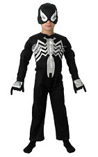 CHILD BLACK #SPIDERMAN SUPERHERO BOOK WEEK FANCY DRESS COMPLETE OUTFIT 3 SIZES