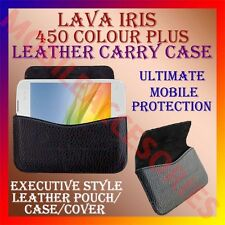ACM-HORIZONTAL LEATHER CARRY CASE for LAVA IRIS 450 COLOUR PLUS MOBILE COVER NEW