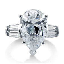 BERRICLE Sterling Silver 8.85 Carat Pear Cut CZ Solitaire Engagement Ring