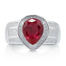 BERRICLE Sterling Silver 2.77 ct.tw Pear Simulated Ruby CZ Halo Fashion Ring
