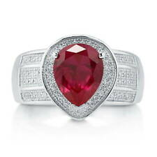 BERRICLE Sterling Silver Pear Simulated Ruby CZ Halo Right Hand Cocktail Ring