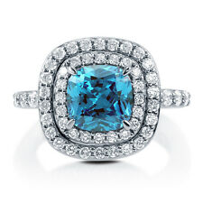 Silver 3.29 CT Cushion Simulated Blue Topaz CZ Halo Promise Cocktail Ring