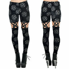 Too Fast Inverted Bone Pentagram Occult Black Gothic Suspender Velour Leggings