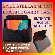 ACM-HORIZONTAL LEATHER CARRY CASE for SPICE STELLAR MI-507 MOBILE POUCH COVER