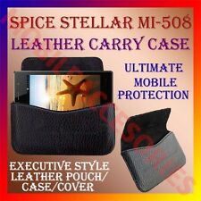 ACM-HORIZONTAL LEATHER CARRY CASE for SPICE STELLAR MI-508 MOBILE POUCH COVER