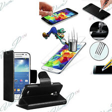 Etui Coque Film Verre Trempe Portefeuille Video Samsung Galaxy S5 Mini G800F