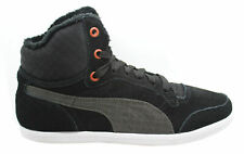 Puma Glyde Court Fur Womens Girls Mid Top Black Suede Trainers (355461 01 D13)