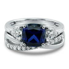 Silver Cushion Simulated Sapphire CZ 3-Stone Engagement Ring Set 3.09 CT