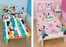 Disney Mickey Minnie Mouse Single Duvet Cover Pillow Sets Reversible Childrens