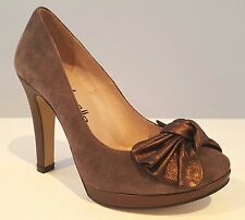 Pumps Plateau Wildleder Gino Vaello/handmade in Spain  taupe/bronze  Gr. 36 - 40