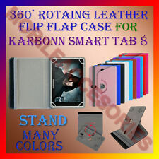 "ACM-ROTATING 360° LEATHER FLIP STAND COVER 8"" CASE for KARBONN SMART TAB 8"" TAB"