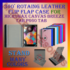 "ACM-ROTATING 360° LEATHER FLIP COVER 8"" CASE MICROMAX CANVAS BREEZE TAB P660"