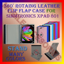 """ACM-ROTATING 360° LEATHER FLIP STAND COVER 8"""" CASE for SIMMTRONICS XPAD 801 TAB"""