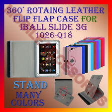 "ACM-ROTATING 360° LEATHER FLIP STAND COVER 10"" CASE of IBALL SLIDE 3G 1026-Q18"