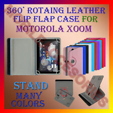 """ACM-ROTATING 360° LEATHER FLIP STAND COVER 10"""" CASE for MOTOROLA XOOM TAB HOLDER"""