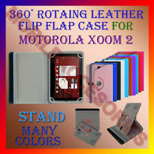 """ACM-ROTATING 360° LEATHER FLIP STAND COVER 10"""" CASE of MOTOROLA XOOM 2 TABLET"""