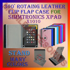 "ACM-ROTATING 360° LEATHER FLIP STAND COVER 10"" CASE of SIMMTRONICS XPAD X1010"