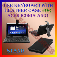 """ACM-USB KEYBOARD 10"""" CASE for ACER ICONIA A501 TABLET LEATHER COVER STAND HOLDER"""