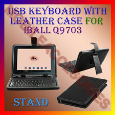 "ACM-USB KEYBOARD 10"" CASE for IBALL Q9703 TABLET LEATHER COVER STAND HOLDER NEW"