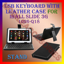 "ACM-USB KEYBOARD 10"" CASE for IBALL SLIDE 3G 1026-Q18 TABLET LEATHER COVER STAND"
