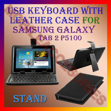 "ACM-USB KEYBOARD 10"" CASE for SAMSUNG GALAXY TAB 2 P5100 TAB LEATHER COVER STAND"