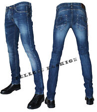 Jeans Uomo Vita Bassa Aderente Slim Fit Denim Made In Italy 42 44 46 48 50 52